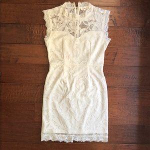 San Souci high neck ivory lace overlay dress sz M